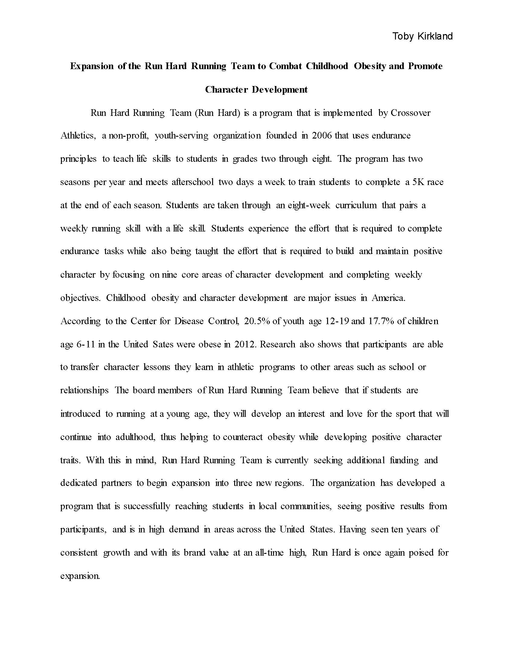 childhood essay cover letter examples of good essays examples of  also sample of research proposal on childhood obesity to help prevent childhoodobesity we need action on